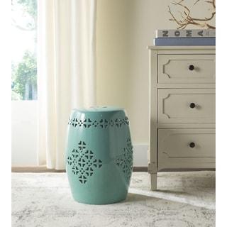 Safavieh Quatrefoil Aqua Ceramic Decorative Garden Stool