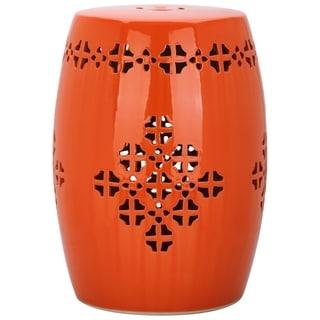 Safavieh Quatrefoil Orange Garden Stool