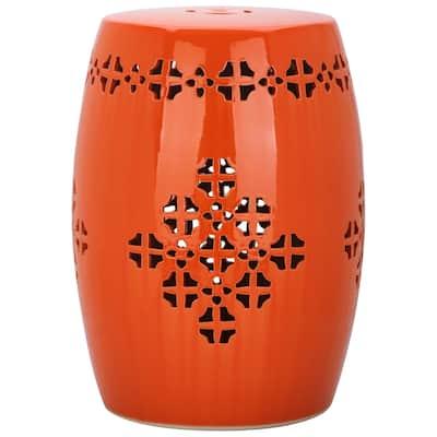 SAFAVIEH Quatrefoil Orange Ceramic Decorative Garden Stool