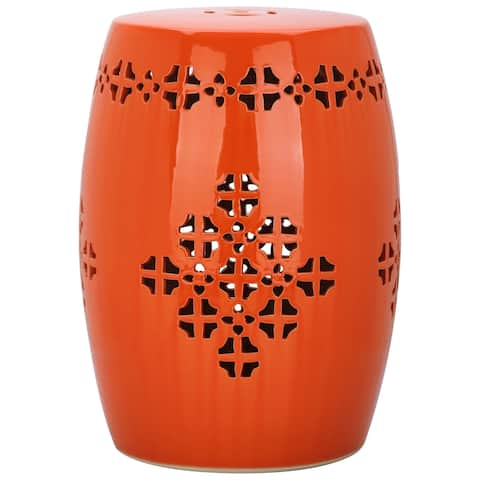 Safavieh Quatrefoil Orange Ceramic Decorative Garden Stool