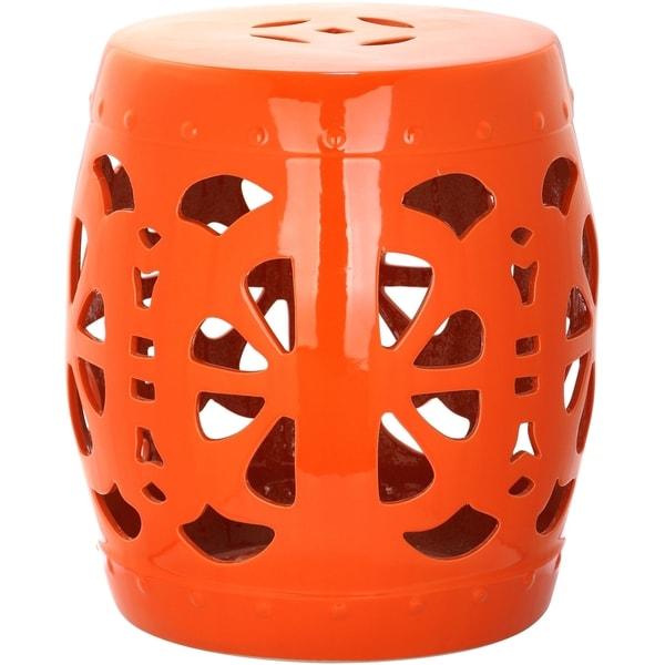 Shop Safavieh Stencil Orange Blossom Garden Stool On
