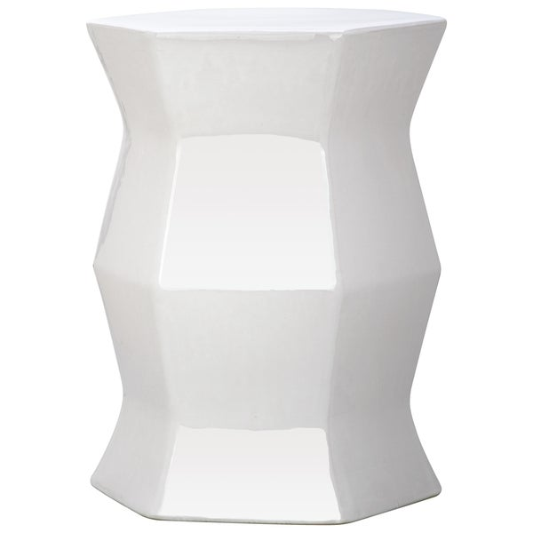 "Safavieh Modern White Hexagon Garden Stool - 12"" x 12"" x 17"""