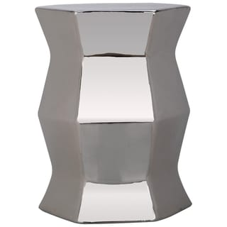 Safavieh Modern Plated Silver Hexagon Garden Stool