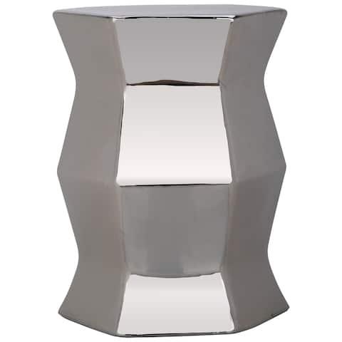 SAFAVIEH Modern Plated Silver Hexagon Creamic Decorative Garden Stool