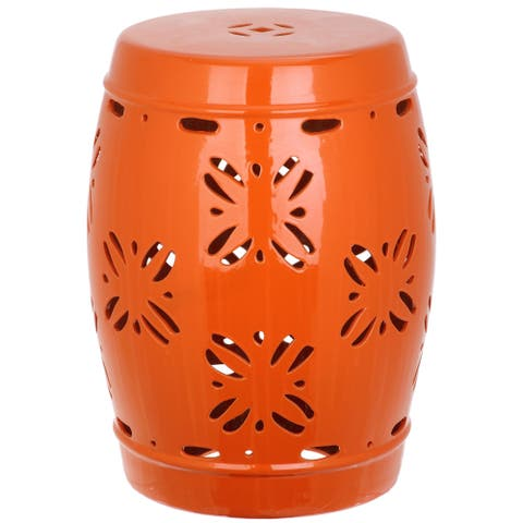 SAFAVIEH Sakura Orange Ceramic Decorative Garden Stool