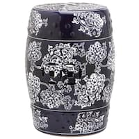 Safavieh Midnight Navy And White Painting Flower Garden Stool