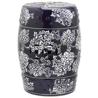 Safavieh Midnight Navy/ White Painting Flower Ceramic Decorative Garden Stool