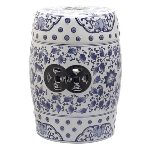 Safavieh Tao Blue and White Painting Ceramic Decorative Garden Stool