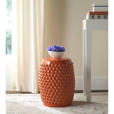 SAFAVIEH Stella Orange Nail Head Ceramic Decorative Garden Stool