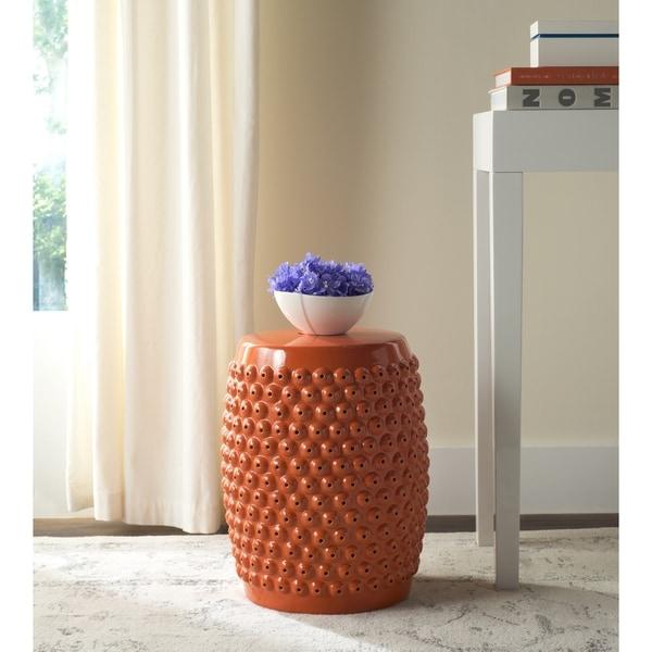 Safavieh Stella Orange Nail Head Ceramic Decorative Garden Stool. Opens flyout.