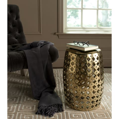 SAFAVIEH Lacey Plated Gold Ceramic Decorative Garden Stool