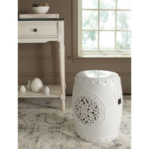 Safavieh Flower White Drum Ceramic Decorative Garden Stool
