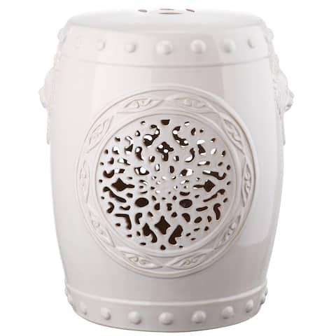 SAFAVIEH Flower Cream Drum Ceramic Decorative Garden Stool