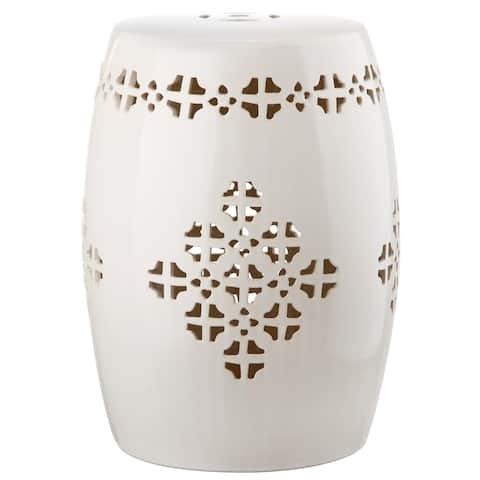 SAFAVIEH Quatrefoil Cream Ceramic Decorative Garden Stool