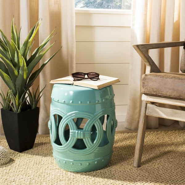 Shop Safavieh Light Blue Double Coin Stool Free Shipping