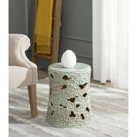 SAFAVIEH Ocean Cloud Reactive Blue Ceramic Decorative Garden Stool