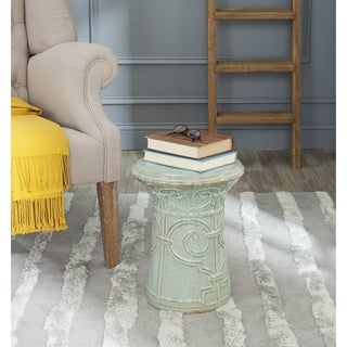 Safavieh Imperial Reactive Aqua Scroll Garden Stool