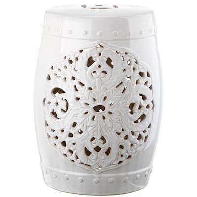 SAFAVIEH Flora Antique White Ceramic Decorative Garden Stool