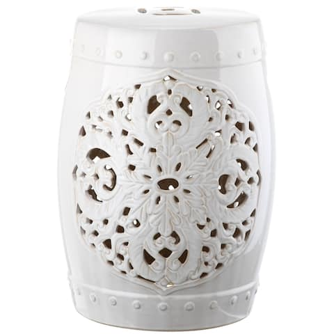 Safavieh Flora White Ceramic Decorative Garden Stool