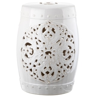 Safavieh Flora White Ceramic Decorative Garden Stool