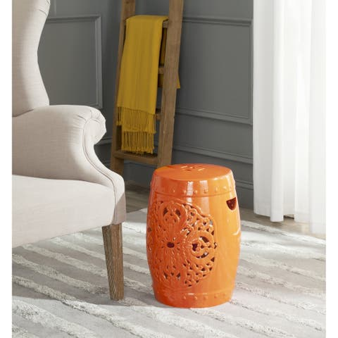 SAFAVIEH Flora Orange Ceramic Decorative Garden Stool