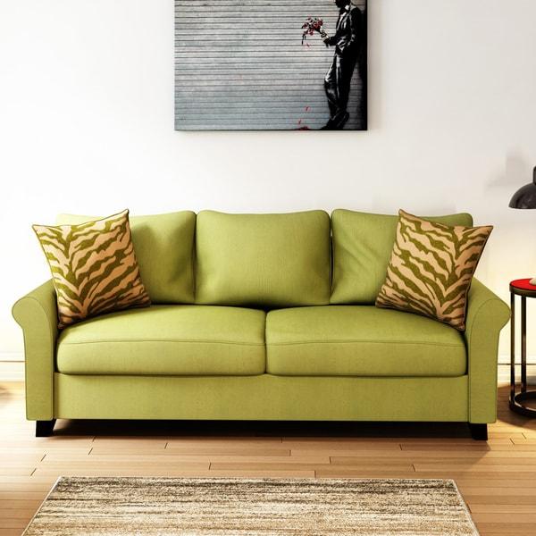 Shop Porch Den Kalamath Green Velvet Sofa On Sale Free