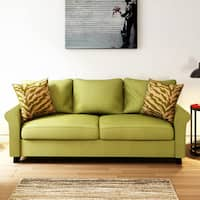 Porch & Den Highland Kalamath Green Velvet Sofa
