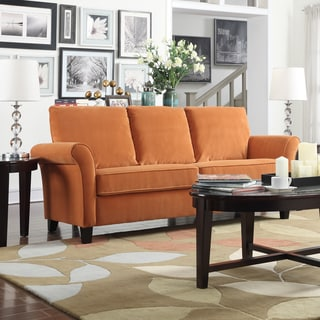 Handy Living Rockford Pumpkin Orange Velvet SoFast Sofa