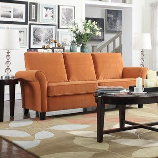Porch & Den Highland Kalamath Pumpkin Orange Velvet Sofa