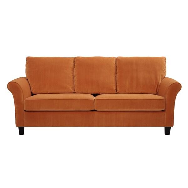 Wonderful Handy Living Rockford Pumpkin Orange Velvet SoFast Sofa   Free Shipping  Today   Overstock.com   17136136