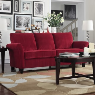 Porch U0026 Den Highland Kalamath Red Velvet Sofa