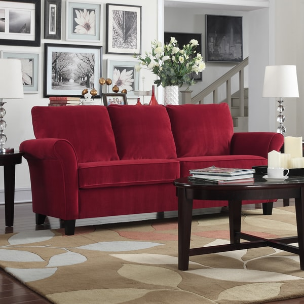 Porch U0026amp; Den Highland Kalamath Red Velvet Sofa