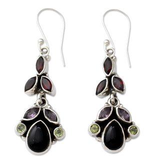Sterling Silver 'Abundance' Multi-gemstone Earrings (India)