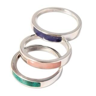 Handmade Set of 3 Silver 'Enchanted' Multi-gemstone Rings (Peru)