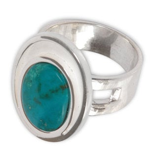 Handcrafted Sterling Silver 'Serenity' Chrysocolla Ring (Peru)