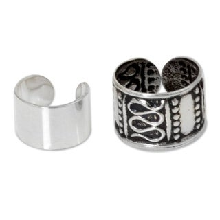 Handmade Set of 2 Sterling Silver 'Two Epochs' Earrings (Thailand)