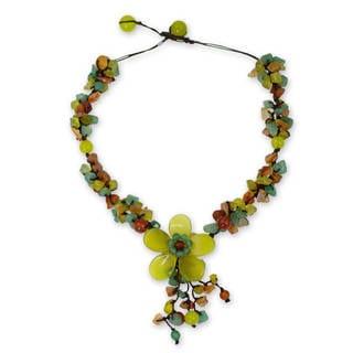 Handmade Multi-gemstone 'Dazzling Bloom' Necklace (Thailand)
