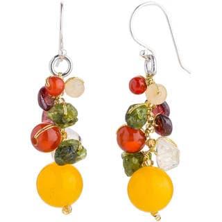 Handmade Sterling Silver 'Sweet Tropics' Multi-gemstone Earrings (Thailand)