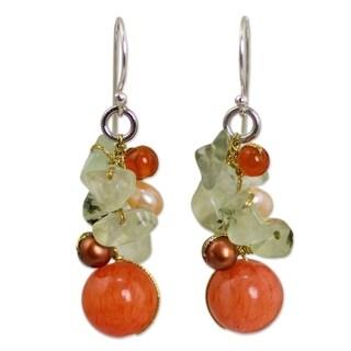 Handmade Silver 'Peach' Pearl Multi-gemstone Earrings (4-4.5 mm) (Thailand)