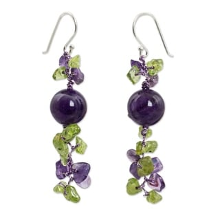 Handmade Peridot Amethyst 'Spring Iris' Earrings (Thailand)