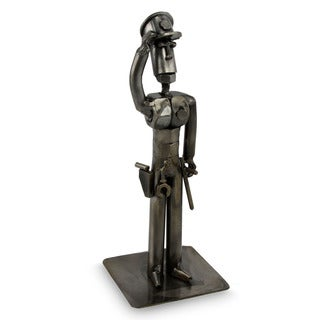Handcrafted Recycled Metal 'Brave Policeman' Statuette  , Handmade in Peru