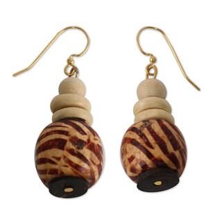 Handmade Sese Wood Recycled Plastic 'Desert Bird' Earrings (Ghana)