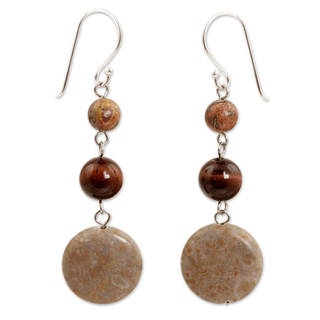 Handmade Jasper Tiger's Eye 'Polished Petals' Earrings (Thailand)
