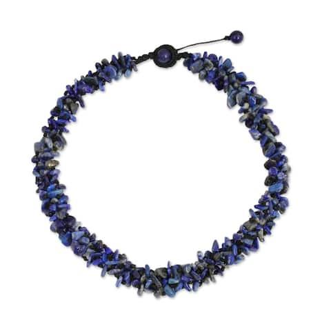 NOVICA Handmade Lapis Lazuli Azure Flow Necklace (Thailand)