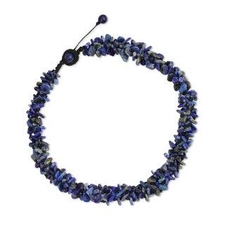 Handmade Lapis Lazuli 'Azure Flow' Necklace (Thailand)