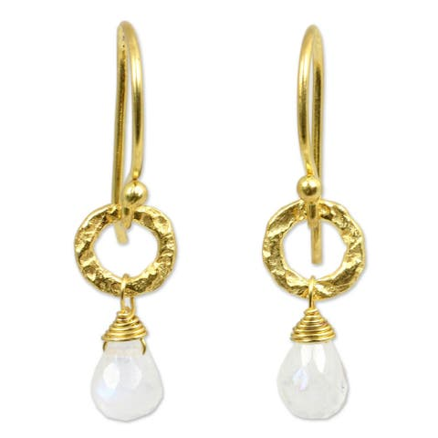 "Dewy Suns Moonstone Gold Overlay Earrings (Thailand) - 0.3"" x 1.1"""