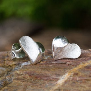 Handmade Sterling Silver 'With Love' Earrings (Thailand)