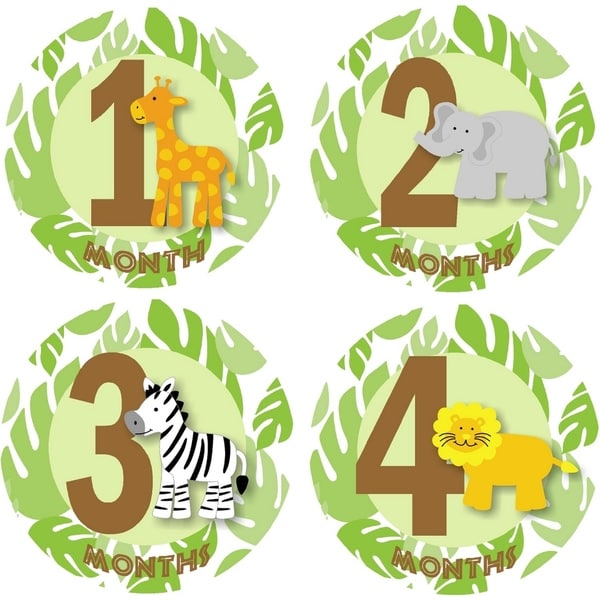 Rocket Bug Safari Animals Monthly Baby Bodysuit Stickers