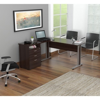 Inval Curved Top 3-drawer Desk with Metal Legs