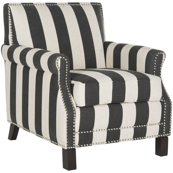 Safavieh Easton Black and White Stripe Club Chair